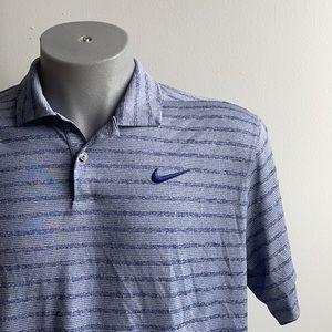 Blue Striped Nike Polo Shirt Large